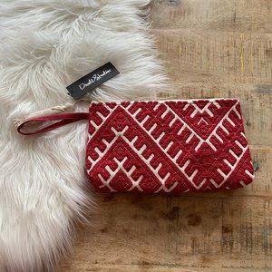 NWT DwellStudio Red & White Vegan Boho Clutch Bag